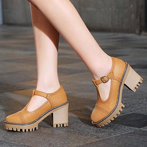 COOLCEPT Damen Mode-Event Chunky Heels T Strap Knochelriemchen Pumps Plateau Gelb