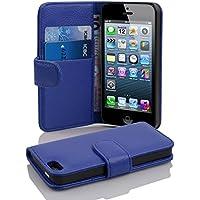 Cadorabo ! PREMIUM – Book Style Hülle im Portemonnaie Design für Apple Iphone 5 / 5S / 5G in KÖNIGS-BLAU