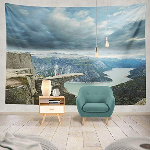 Alfreen arazzo Tapestry Mountain Landscape Nature Sea Sport Famous Man North Tourism Hill Scenic Hanging Tapestries 60 X 80 inch Wall Hanging Decor for Bedroom Livingroom Dorm