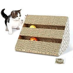 Hengu Juguete Rascador para Gatos, Garra de Gato Alfombra Barriles Postes Rascandoras de Muebles Cartón Corrugado Reciclable con 2 Bolas de Juguete & Hierba Gatera