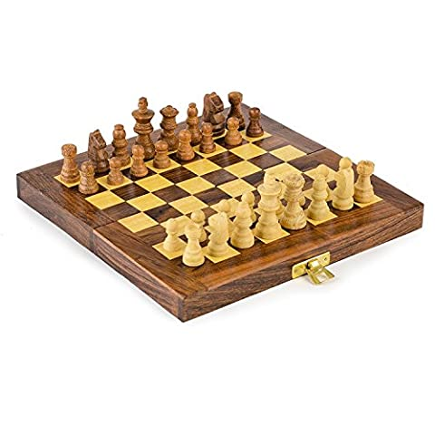 Indian Wood Perfect Travel Chess Set Folding With Storage Board