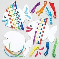 Baker Ross Rainbow Fish Weaving Kits For Kids - Summer Craft Sets For Children To Make (Pack Of 6)