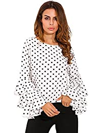 StyleDome Mujer Camiseta Mangas Largas Volantes Lunares Blusa Elegante Noche Casual Oficina