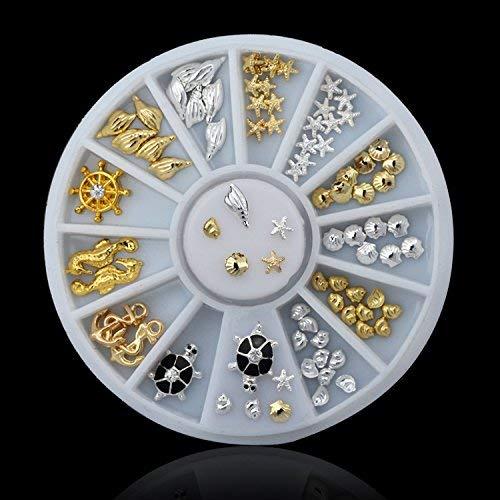 Seba5 Home Shell Starfish Sea Design Gold Silber Legierung 3D Nail Art Strass Dekoration Rad DIY Schmuck Werkzeug von Clest F & H