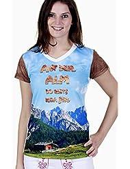 Trend-Promotion Austria TPW125 - Camiseta con mensaje en alemán para mujer azul Talla:32