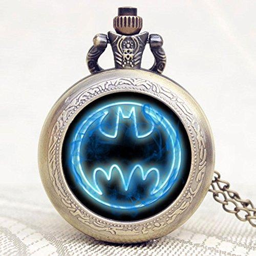 Batman Fluo Blue Logo Antik Bronze Effekt Retro/Vintage Case Herren Quarz-Taschenuhr Halskette–auf 81,3cm Zoll/80cm Kette - 2