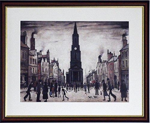L S Lowry Spezialität Print/Bild-Berwick upon tweed auf einem Leinen Struktur Medium, Walnut Finish Frame With Soft White Mount And Large Image, 20 x 16inch -