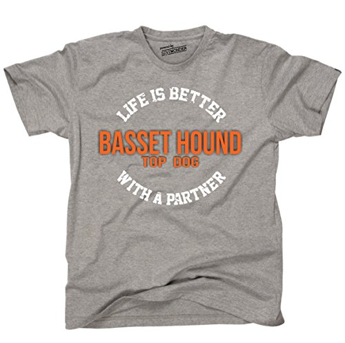 Siviwonder Unisex T-Shirt BASSET HOUND - LIFE IS BETTER PARTNER Hunde Sports Grey