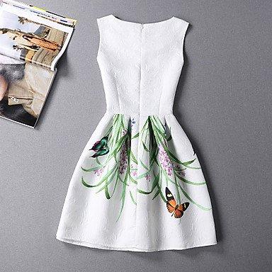 PU&PU Robe Aux femmes Trapèze / Patineuse Mignon / Chic de Rue,Imprimé Col Arrondi Au dessus du genou Polyester WHITE-L