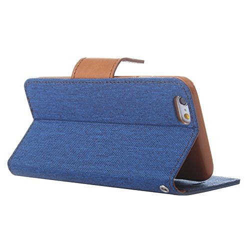 Phone case & Hülle Für iPhone 6 & 6S Denim Texture Horizontale Flip Leder Tasche mit Halter & Card Slots & Wallet ( Color : Green ) Dark Blue