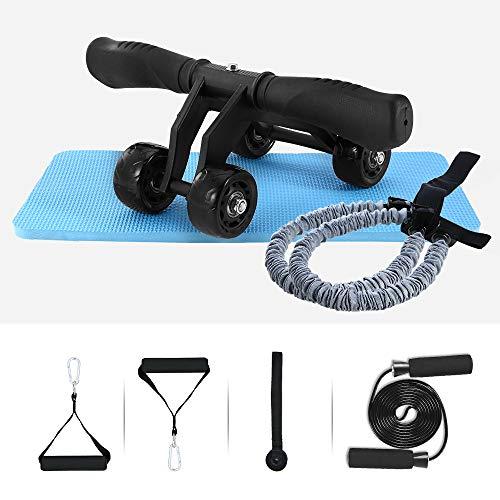 TOMSHOO Vier Runden AB Roller Bauchtrainer AB Wheel 4 Rad Kraftrad Fitness Set