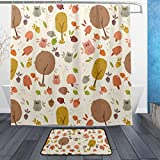 ISAOA Kleine Eule und Baum Rutschfeste Badezimmermatte für den Innenbereich, 60 x 40 cm, wasserdicht, 183 x 183 cm, waschbarer Duschvorhang mit 12 Haken