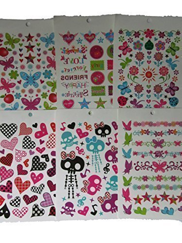 Ein Buch 6 Blatt Damen Mädchen Bunte Schädel Herzen Sternen Schmetterling Stil Abwaschbar Tattoos (Herz & Schmetterling Tattoos)