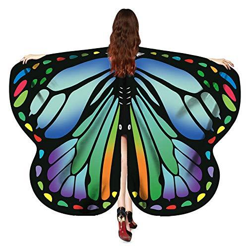 VEMOW Heißer Verkauf Eleagnt Damen Karneval Flügel Kostüm Schmetterling 170 * 140 CM Flügel Schal Schals Nymphe Pixie Poncho Kostüm Zubehör(Grün, 170X140CM)