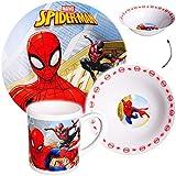 alles-meine GmbH 3 TLG. Geschirrset -  Ultimate Spider-Man  - Porzellan / Keramik - Trinktasse + Teller + Müslischale - Kindergeschirr - Frühstücksset für Kinder - Jungen - ..
