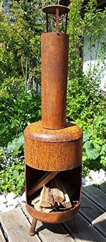 Gartenofen Edelrost Feuerstelle Terrassenofen 107cm gross braun