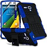 ( Blue ) Motorola Moto G 4G LTE Hülle Abdeckung Cover Case Stylish Designed schutzhülle Tasche Fall Tough Survivor Fest Rugged Shock Proof Heavy Duty Case Stylish Designed W / Back-Stand, LCD-Display Schutzfolie, Poliertuch und Mini-versenkbaren Stift durch Fone-Case