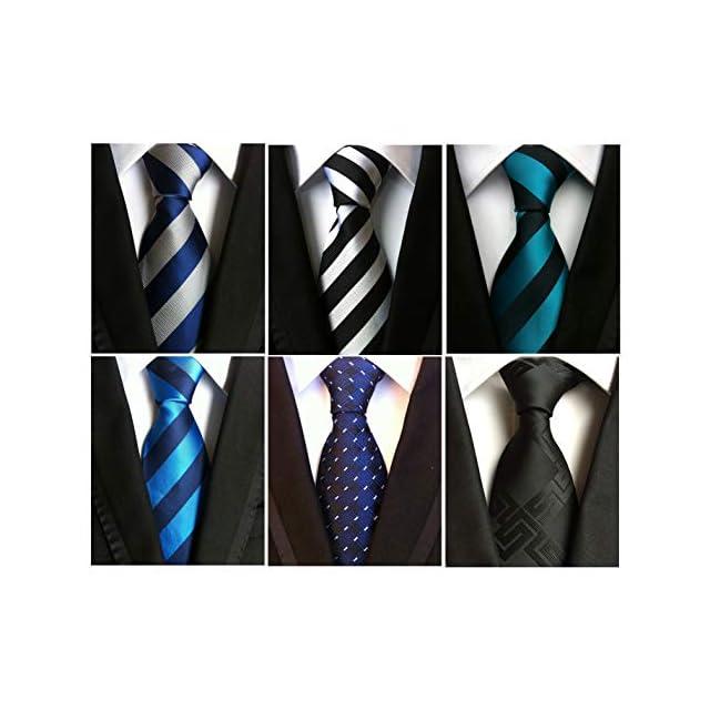300675285e704 Vellede Lot 6 PCS Cravate de Costume Homme à Rayure Classique Imprimé  Floral Couleurs ...