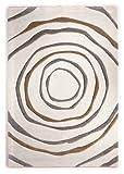 Teppich Modern Design Musterteppich Webteppich Kurzflor - Wohnzimmer, Esszimmer, Gästezimmer – Kreis-Design Creme/Braun – 3-D Effekt – komplett umkettelt, 15mm Flor, pflegeleicht – 67x140cm