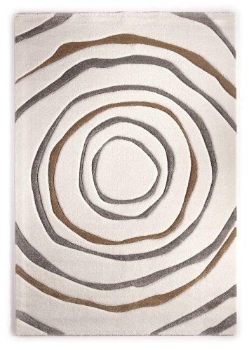 Teppich Modern Design Musterteppich Webteppich Kurzflor - Wohnzimmer, Esszimmer, Gästezimmer – Kreis-Design Creme/Braun – 3-D Effekt – komplett umkettelt, 15mm Flor, pflegeleicht – 160x230cm