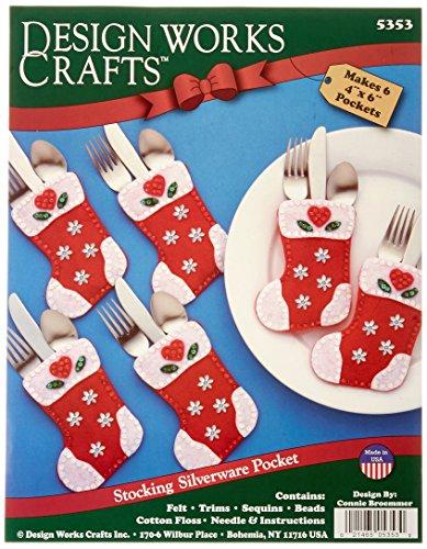 (Christmas Stocking Silverware Pockets Felt Applique Kit-4