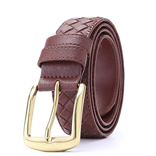 ZHYAODAI Genuine Leather Strap Belt Design Plaid Antique Brass Belt Buckle For Men Braided Leather Jeans Men Belt, Brown, 115Cm 38A41 Inches