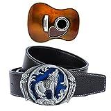 Monkeyjack vintage in pelle nera cinghie fibbia della cintura occidentale musica rock Guitar Boemia