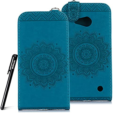 Case for Microsoft Lumia N550 wallet Embossed Flowers case,Nokia Lumia 550 Premium Ceramic pattern flip cover,BtDuck protective case Blue shell Retro Buddhism Solid color special Vertical opening skin Case for Open vertically Holster Full-body protection machine Totem Anti-scratch Shock Resistant Strong magnetic buckle Magnet Closure [with Lanyard Strap / Rope] Credit Card/Cash Holder Slot - Blue