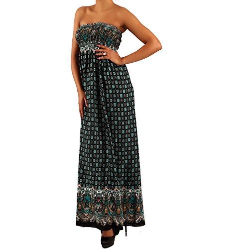 Damen Maxikleid Hippie Bandeau Long Dress Strandkleid Petrol 3/Mehrfarbig
