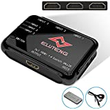 ELUTENG 4K HDMI Switch 3-Port With Remote HDMI Splitter 3 In 1 Out Mini Box 3x1 No Power V1.4 HDMI Switcher Support 3D For PS4 / PS3 / Xbox / DVD / TV Box / HDTV / PC