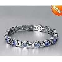 Sehr hübsches Magnetarmband 4 Magneten Female Apatitkristalle Sapphire Swarovski Elements (Magnetfeldtherapie) preisvergleich bei billige-tabletten.eu