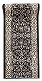 Läufer Teppich Flur in Anthrazit Schwarz - Orientalisch Klassischer Muster - Brücke Läuferteppich nach Maß - 100 cm Breit -