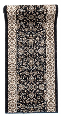 Läufer Teppich Flur in Anthrazit Schwarz - Orientalisch Klassischer Muster - Brücke Läuferteppich nach Maß - 100 cm Breit - AYLA Kollektion von Carpeto - 100 x 75 cm -