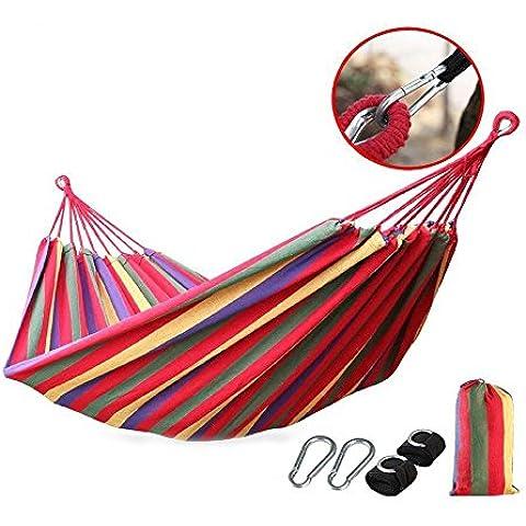 huatuo® Portable camping jardín playa viaje ocio Durable lienzo hamaca para 2persona, rojo