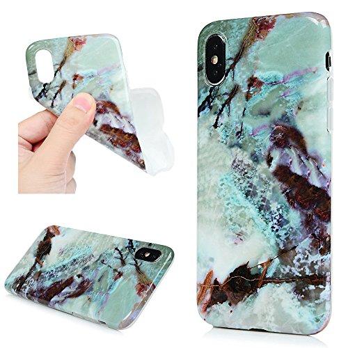 iPhone X Cover, Custodia Morbida Marmo TPU Silicone Flessibile Gomma - Case Ultra Sottile Cassa Protettiva per iPhone X - Colore di Azzurro + Rosa Verde Scuro + Azzurro