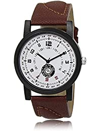 Styllent Amazing Stylish Sport Look White Dial Stylish Brown Leather Strap Analog Watch For Men & Boys