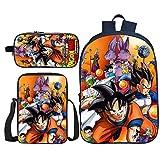 BFZHYMX Rucksack für Mädchen Schulbüchertasche 3 Stück Dragon Ball Büchertaschen Wärmeisolierte Lunch-Tasche Mäppchen zum Mädchen Junge,d