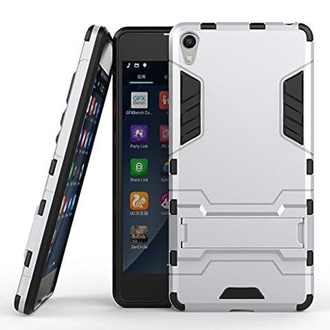 KaiTelin Etui Sony Xperia E5 - 3 Couche Holster Combo Antichoc [Protection Goutte] Soutien Hard Cover Case pour Sony Xperia E5 - Argent