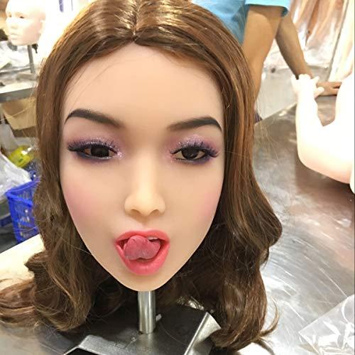 YHDoll Echt Zunge Sexpuppe Kopf für Lebensechte Liebespuppe Silikon TPE Sex Doll Sexspielzeug Körper
