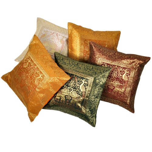 Little India Zari Hand Embroidery Work Silk 5 Piece Cushion Cover Set - Multicolor  (DLI3CUS431)