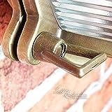 Wandleuchte Außen Antik Echt-Messing Rostfrei E27 Riffelglas Käfigschirm Rund Außenleuchte Feuchtraum Haus - 6