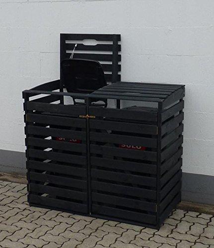 PROMADINO Mülltonnenbox, für 2×240 l aus Holz, B/T/H: 136/92/122 cm anthrazit - 2