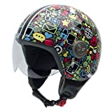 NZI Vintage II Casco Moto, Icone di Internet (Communication), 59 (XL)