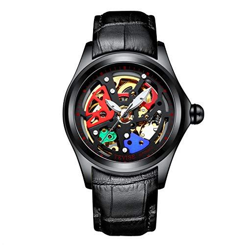 Qxue Uhren Herren Mode Business Kleid Analog Automatisch Männer Sport Wasserdicht Armbanduhr Leder Armbanduhr,colorD