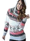 YOUJIA Femmes Hoodie de Noël - Manches longues - flocon de neige - Sweat-shirts Pull-over Sweat à capuche