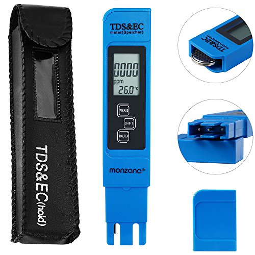 Monzana 3 in 1 TDS EC PH Tester Digitale Wassertester | mit LCD Anzeige | Batterie - verschiedene Modelle
