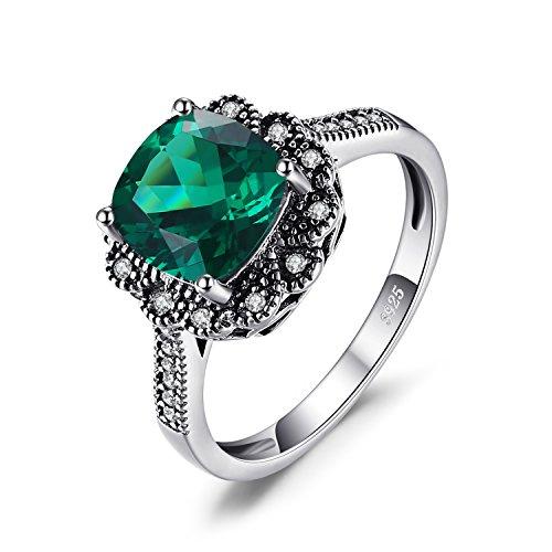 JewelryPalace Vintages 2.2ct Quadrat Simulierte Nano Russischen Smaragd Versprechen Jahrestag Ring 925 Sterling Silber