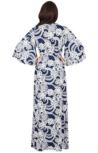 KOH KOH® Femmes Robe Longue Manche Kimono Col V Imprimé Ceinture Élastique Bleu Marine