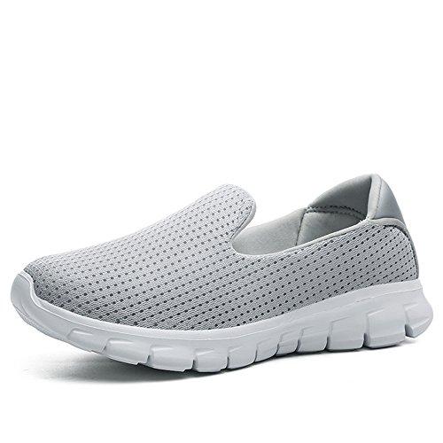 JACKSHIBO Damen Low-Top Mesh Sneakers Leicht Komfort Freizeitschuhe Weich Footwear,Hellgrau,EU 40