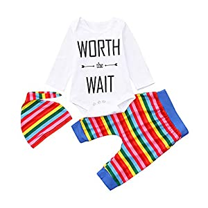 BaojunHT Kids Unisex Casual Letter Jumpsuit Colorful Striped Pants Sleepsuit Outfits Suit